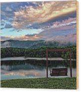 Evening Mist In August Over Lake Tamarack Wood Print