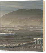 Evening Mist Over Ecola State Park Wood Print