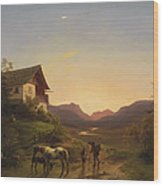 Evening Mood In Front Of A Wide Landscape With Horses Wood Print