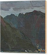 Evening Mountains In The Gulf Wood Print