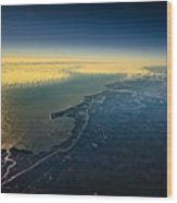 Evening Ocean Shore From The Airplane Window Wood Print