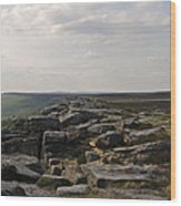 Evening On Stanage Edge Wood Print