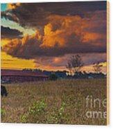 Evening On The Farm Five Wood Print