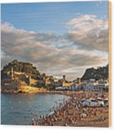 Evening Over Tossa De Mar Wood Print