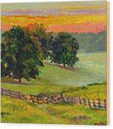 Evening Pastures Wood Print