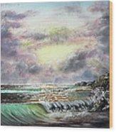 Evening Seashore Wood Print