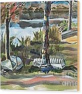 Evening Shadows At Shepherd Mountain Lake  No W101 Wood Print