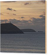 Evening Skies At Polzeath Wood Print