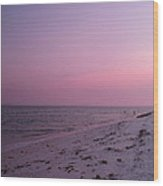 Evening Sky At The Beach Wood Print