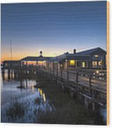 Evening Sky At The Dock Wood Print by Debra and Dave Vanderlaan