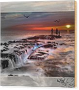 Evening Stroll At The Beach -featured In 'cards For All Occasions'comfortable Art'  'digital Veil Wood Print