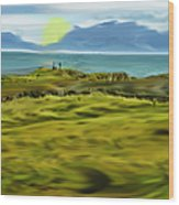 Evening Stroll By The Seashore Wood Print
