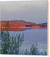 Evening Sun Glow On Calm Twin Lakes Yukon Canada Wood Print