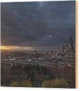 Evening Sunlit Seattle Skyline Wood Print