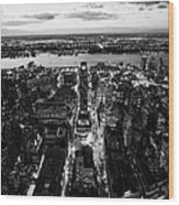 Evening View Of Manhattan West Towards Hudson River And One Penn Plaza Night New York City Wood Print