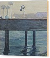 Eventide At The Oceanside Harbor Fishing Pier Wood Print