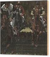 Eventing Horses Over Jump Wood Print