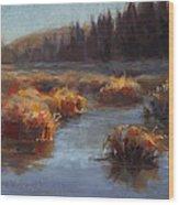 Ever Flowing Alaskan Creek In Autumn Wood Print