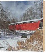 Everett Rd. Covered Bridge Wood Print