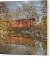 Everett Rd. Covered Bridge In Fall Wood Print