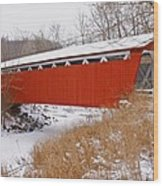 Everett Rd. Covered Bridge In Winter Wood Print