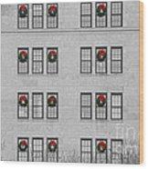 Evergreen Christmas Wreaths Abstract Wood Print