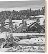 Evergreen Lake House Winter Wood Print by Ron White