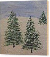 Evergreen Winter Wood Print
