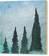 Evergreens On Green And Blue Landscape #1 Wood Print