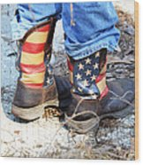 Every Day American Fishing Boots Wood Print