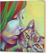 Evi And The Cat Wood Print