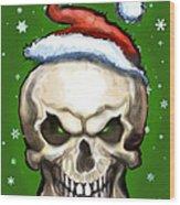 Evil Christmas Skull Wood Print