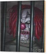 Evil Clown Wood Print