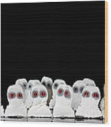 Evil White Ghosts In A Crowd With Black Space Wood Print