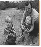 Ex Green Beret Barry Sadler In Target Practice With Son's Thor And Baron Tucson Arizona 1971 Wood Print