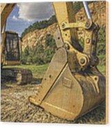 Excavator At Big Rock Quarry - Emerald Park - Arkansas Wood Print