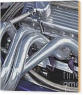 Exhaust Manifold Hot Rod Engine Bay Wood Print by Allen Beatty