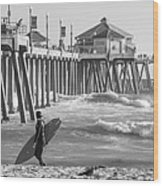 Existential Surfing At Huntington Beach Wood Print