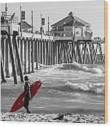 Existential Surfing At Huntington Beach Selective Color Wood Print