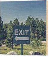Exit Sign Wood Print