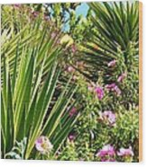 Exotic Hillside Garden Wood Print