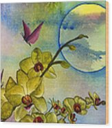 Exotic Moon Wood Print by Diane Ferron