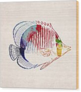 Exotic Tropical Fish Drawing Wood Print