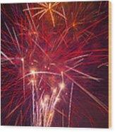 Exploding Fireworks Wood Print