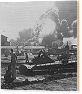 Explosion At Pearl Harbor Seen Wood Print
