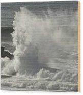 Explosive Wave At Mavericks Point Wood Print