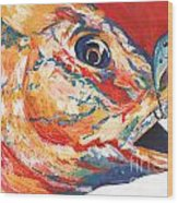 Expressionist Blue Gill On Lure Wood Print