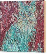 Expressionist Cat Oil Painting.3 Wood Print