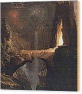 Expulsion. Moon And Firelight Wood Print
