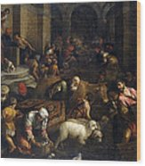 Expulsion Of Merchants From The Temple Wood Print